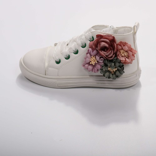 White embroidery floral sneaker - orangeshine.com