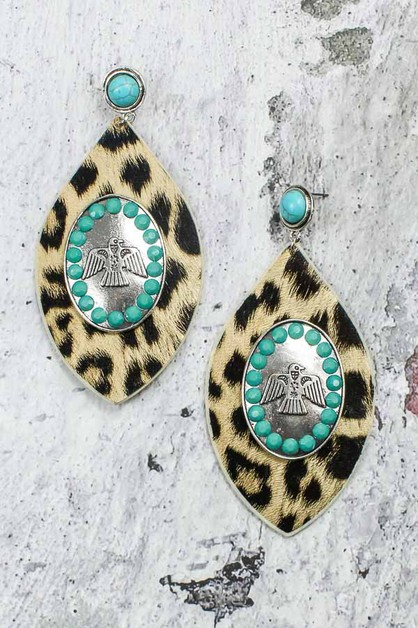 Turquoise Leopard Pendant Earrings - orangeshine.com