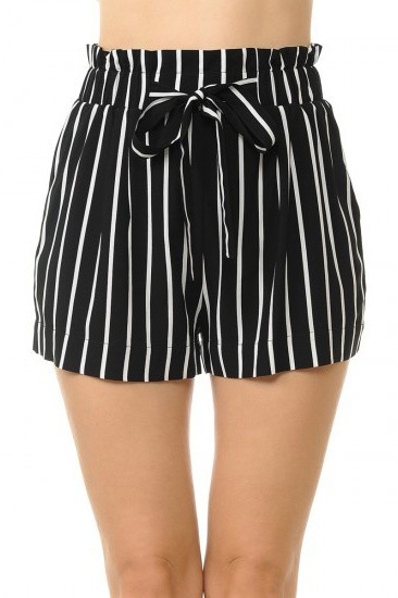 STRIPED TIE PAPERBAG SHORTS - orangeshine.com