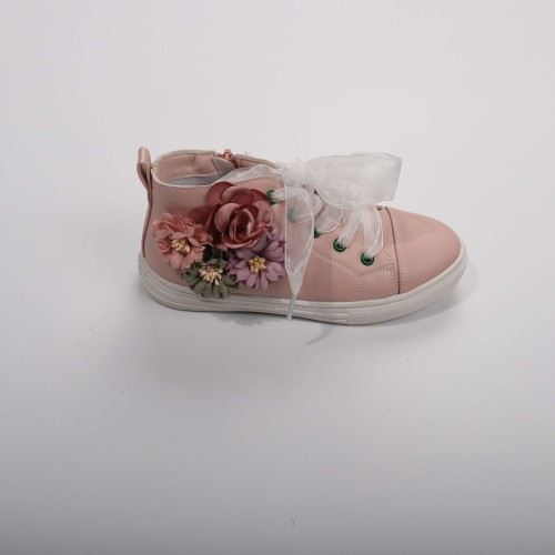 Pink embroidery floral sneaker - orangeshine.com