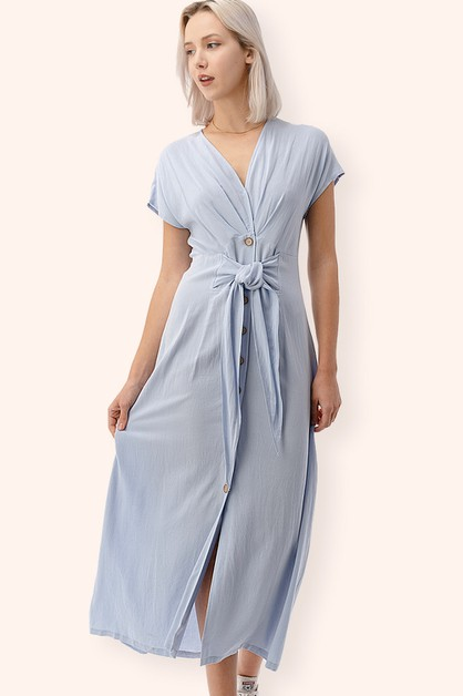 Wide Shoulder Tie-Front Dress - orangeshine.com