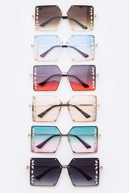Crystal Accent Square Sunglasses - orangeshine.com