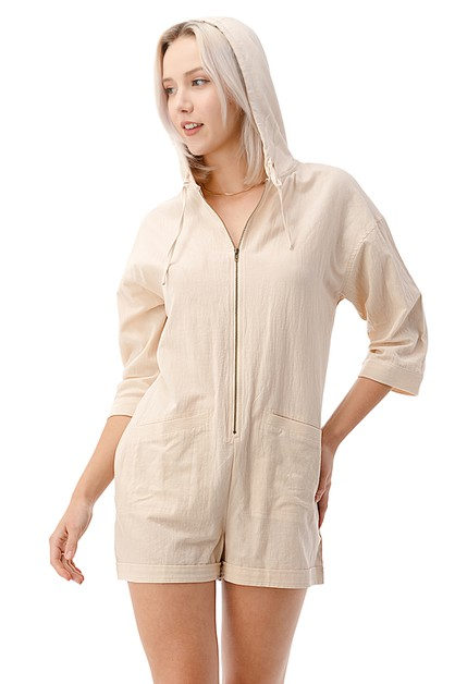 Casual Hoodie Zip Up Romper - orangeshine.com