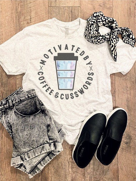 Coffee and Cusswords Watercolor Tee - orangeshine.com