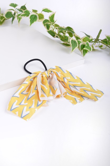 Ladies Yellow Geometric Ribbon Hair - orangeshine.com