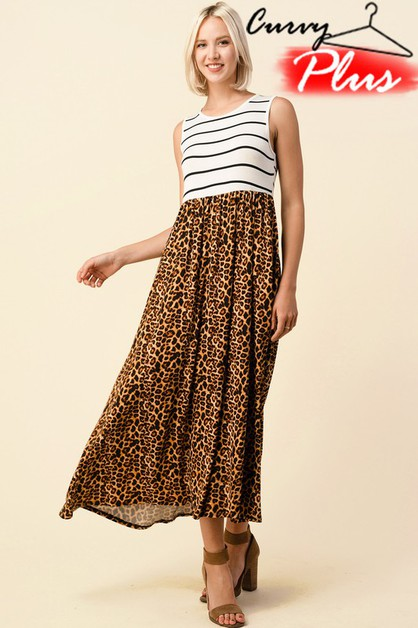 STRIPE AND LEOPARD SLEEVELESS MAXI DRESS - orangeshine.com