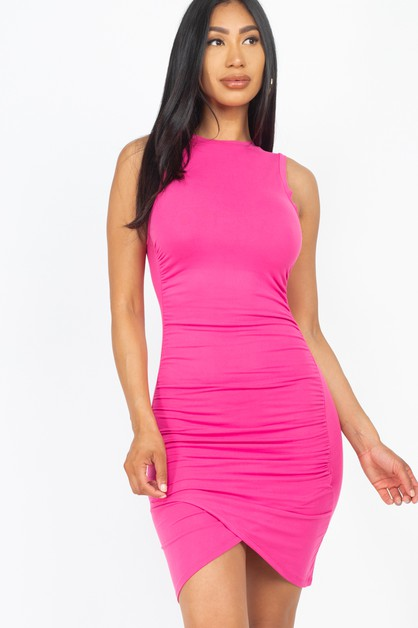 Shirred Bodycon Mini Dress - orangeshine.com