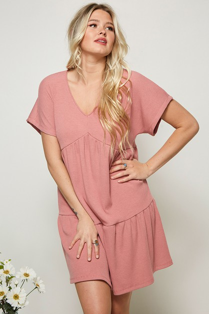 RIB KNIT BABYDOLL DRESS - orangeshine.com