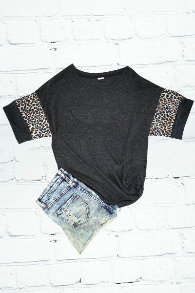 Short Sleeve Cheetah Print T-Shirt - orangeshine.com
