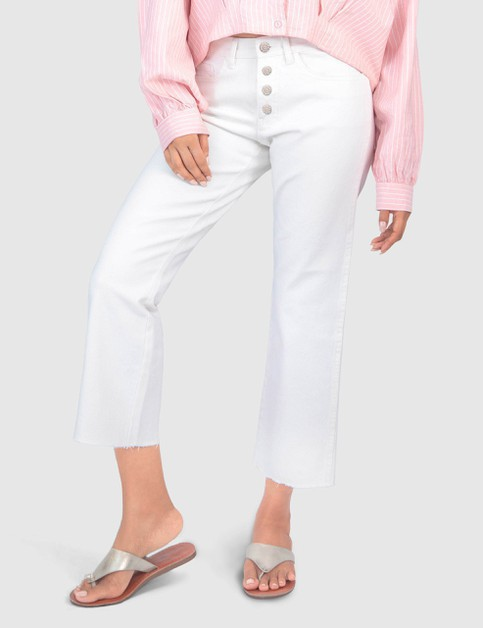 WOMENS HIGH-WAISTED WHITE ANKLE PANT - orangeshine.com