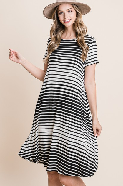 CASUAL STRIPE DRESS - orangeshine.com