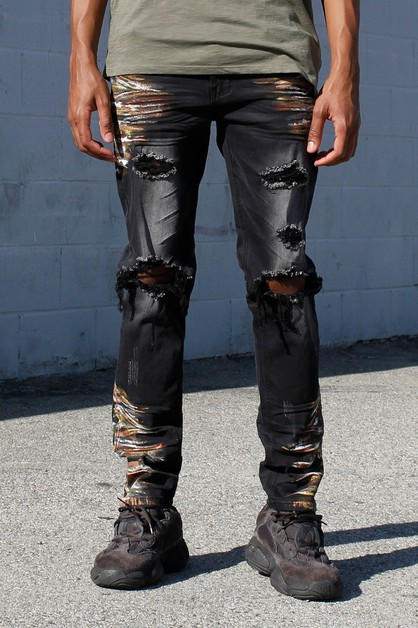 RIPPED JEANS W MULTI PAINT SPLATTER - orangeshine.com