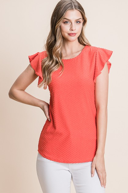 SWISS DOTTED RUFFLED SLEEVE TEE - orangeshine.com