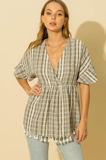 STRIPE SURPLICE TOP WITH TASSLE TRI - orangeshine.com