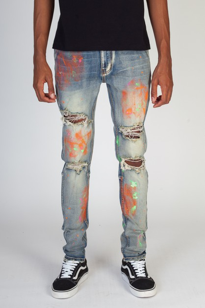 MULTI-PAINTED JEANS - orangeshine.com