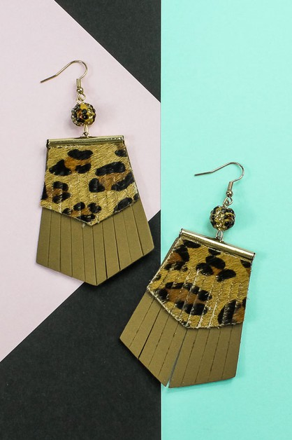 Leopard Fringe Earrings - orangeshine.com