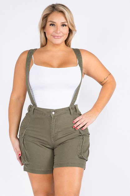 PLUS SIZE CARGO DENIM SHORTS WITH SUSPEN - orangeshine.com