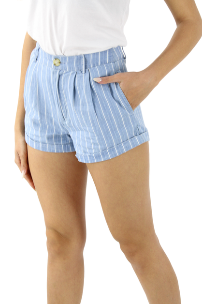 Pinstripe Mini Shorts with 2 Big Pockets - orangeshine.com