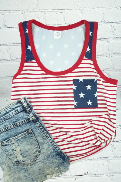 Stars and Stripes Tank Top with Pock - orangeshine.com