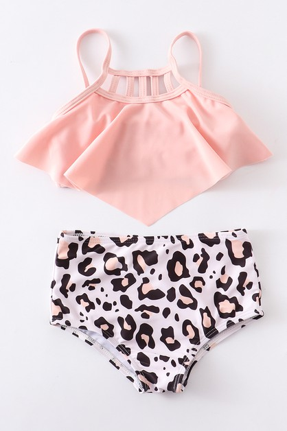 Pink leopard 2 pcs swim bathing suit - orangeshine.com