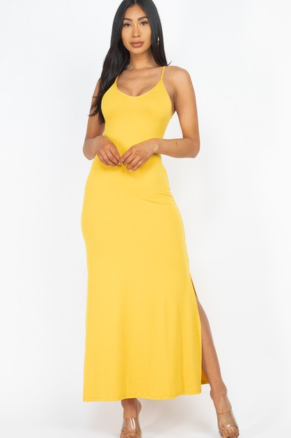 Side Slit Lace Up Maxi  Dress - orangeshine.com