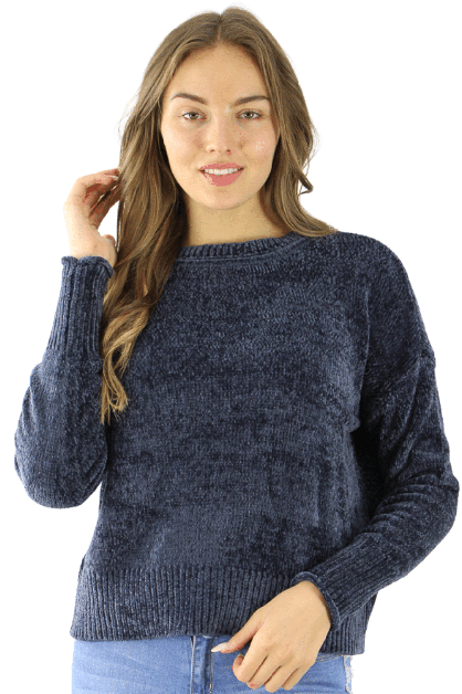 Navy Polyester Sweater - orangeshine.com