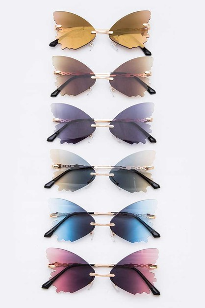 Gradient Butterfly Rimless Sunglasse - orangeshine.com