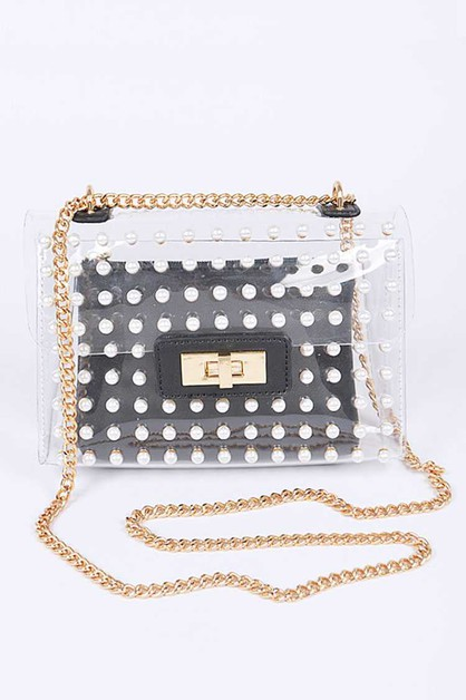 Pearl Studs Clear 2 In 1 Swing Bag - orangeshine.com