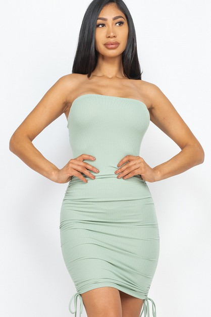 SIDE STRAP RUCHED BODYCON DRESS - orangeshine.com