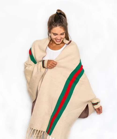 Womens striped poncho scarfs - orangeshine.com