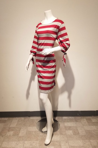tie sleeve stripe boat neck dress - orangeshine.com
