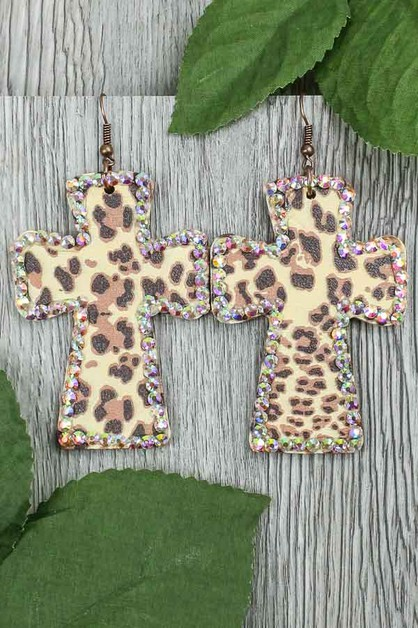 Rhinestone Cross Earrings - orangeshine.com