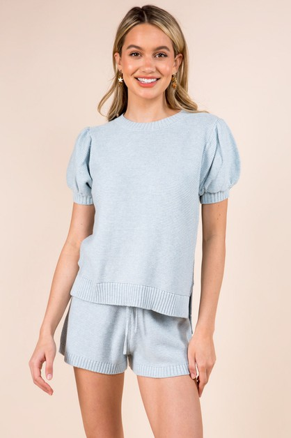 Puff Sleeve Spring Pullover Sweater - orangeshine.com