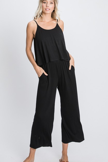 SOLID CROP JUMPSUIT WITH SIDE POCKET - orangeshine.com