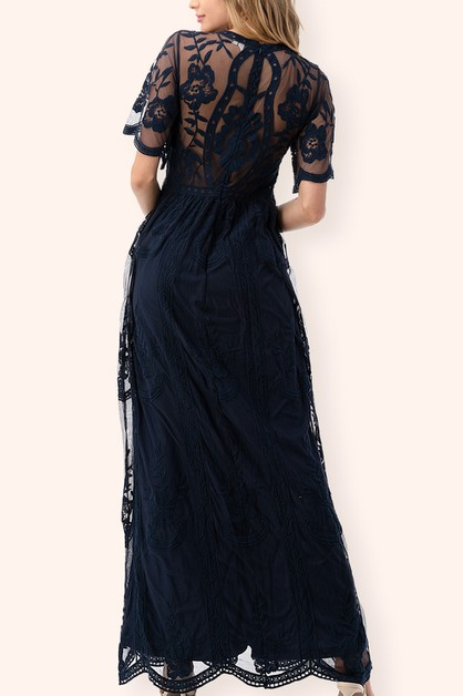 V-Neck Lace Embroidered Maxi Dress - orangeshine.com