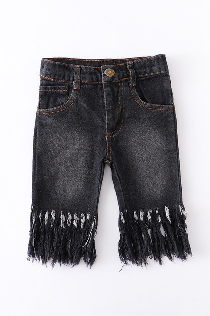Dark denim raw tassel capri jeans - orangeshine.com