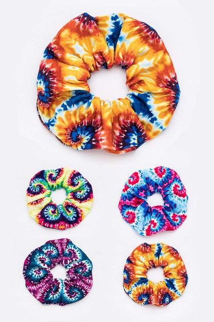 Tie Dyed Large Scrunchies Set - orangeshine.com