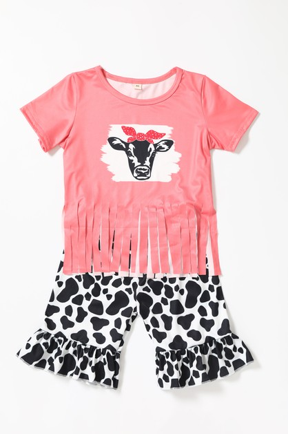 Cow tassel cow pattern shorts set - orangeshine.com