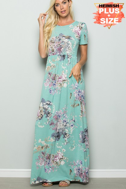 PLUS FLORAL MAXI DRESS WITH SIDE POC - orangeshine.com