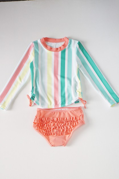 Stripe rainbow ruffle 2 pcs swim sui - orangeshine.com