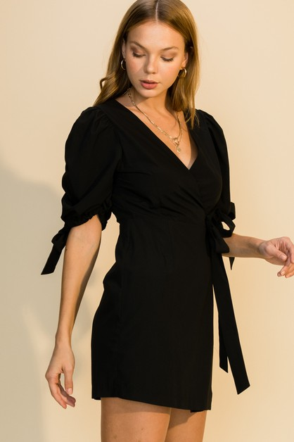 PUFF SLEEVE WRAP DRESS - orangeshine.com