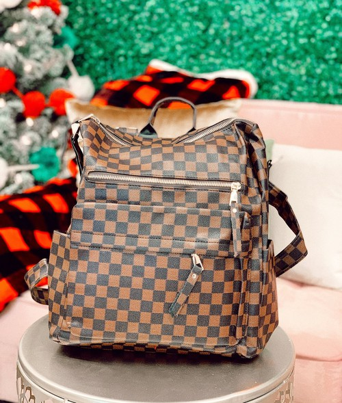 Checkered backpack purses - orangeshine.com
