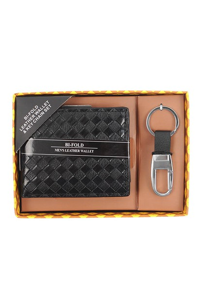 12pc Black Woven Leather Wallet Set - orangeshine.com