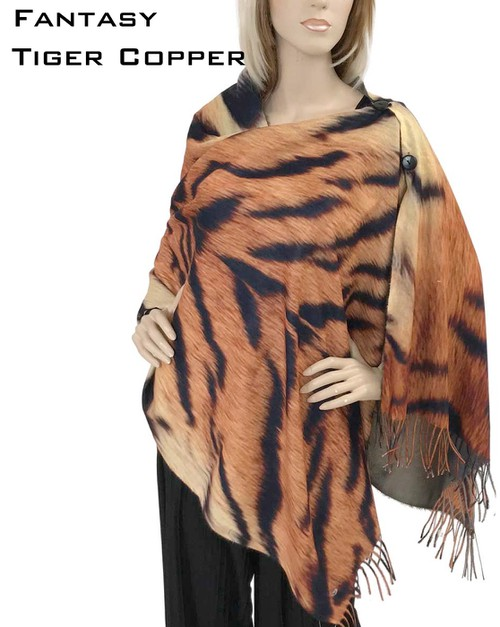Animal Print Shawls with Buttons - orangeshine.com