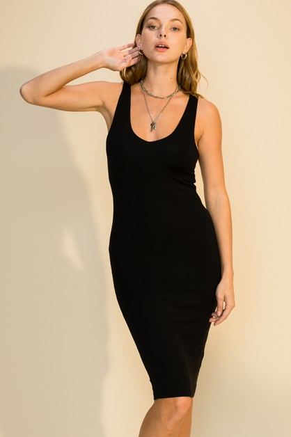 V NECK SLEEVELESS MIDI DRESS - orangeshine.com