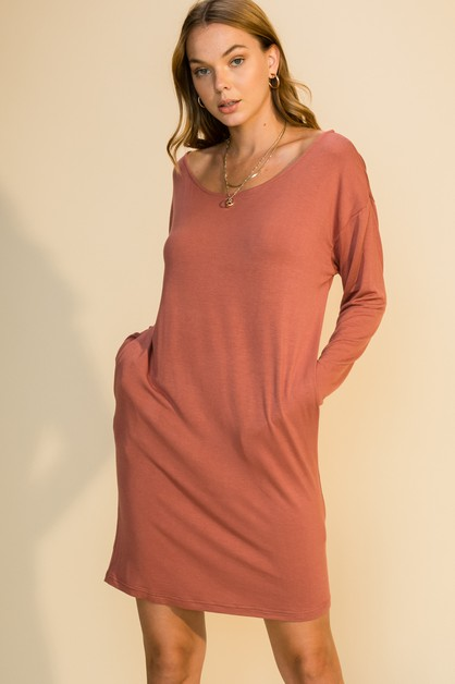 LONG SLEEVE BOAT NECK POCKET DRESS - orangeshine.com