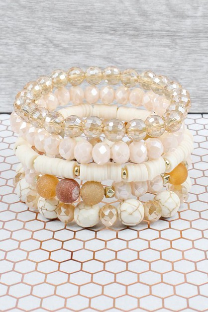 Crystal Beaded Stacked Bracelets - orangeshine.com