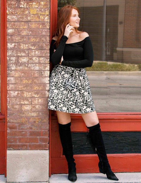 Plus Size Pattern Mini Skirt - orangeshine.com