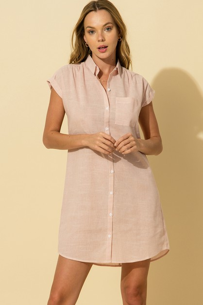 COLLARED BUTTON DOWN SHIRT DRESS - orangeshine.com