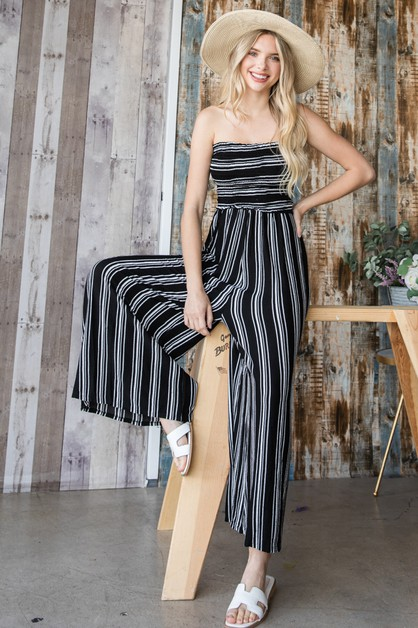 Stripes Paperbag Tube Jumpsuit - orangeshine.com
